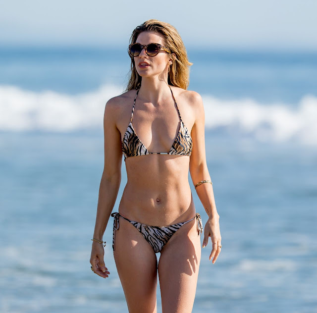 Rachel McCord in a bikini on the beach in Los Angeles