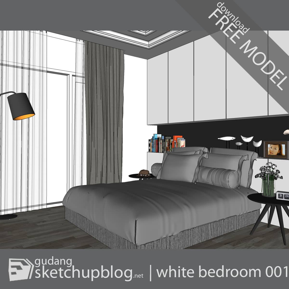 Interior Scene | White Bedroom 001 - gudang | sketchupblog