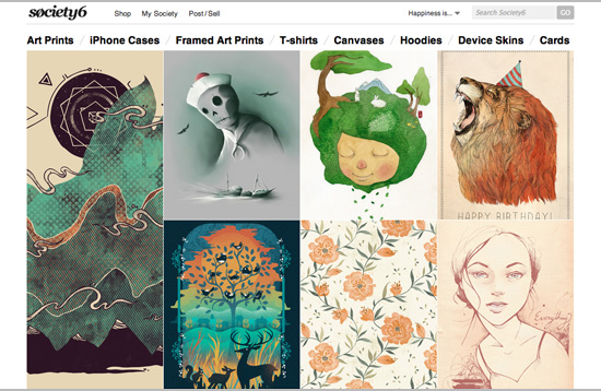 Society6 - online shop for creative illustration, design and products