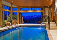 indoor pool with wooden finish