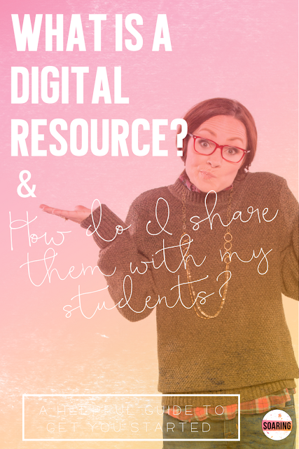 If you're wondering what a digital resource is, or how to get started using them with your students, I've got you covered in this massive blog post. There are video tutorials to walk you through, step by step, what you need to do to get started, how to use and share digital resources with your students, and why they can be a game changer! Freebie included to get you started!