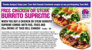 free Taco Bell coupons march 2017