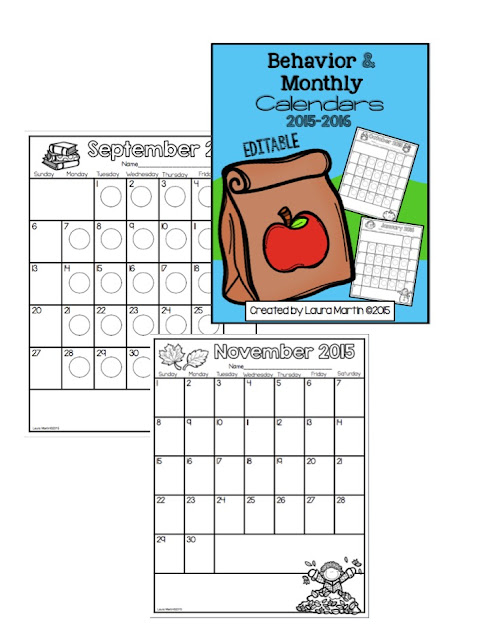 I love using editable class calendars-for behavior or class reminders!