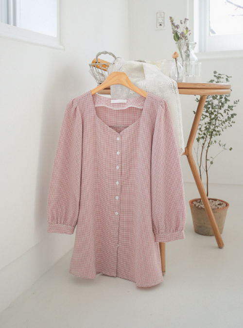 Loose Gingham Button Down Shirt