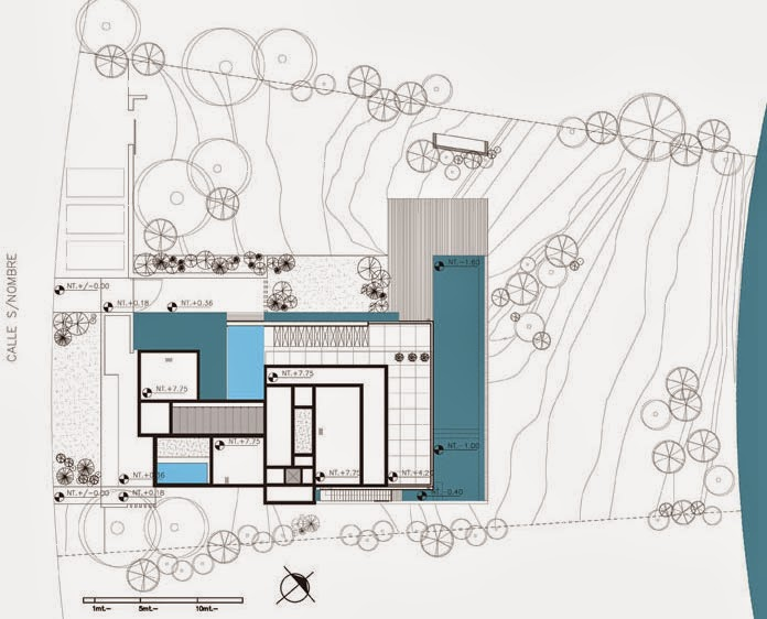 Roof plan of Modern Agua House by Barrionuevo Sierchuk Arquitectas