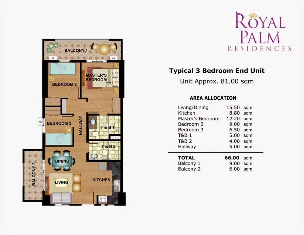 Royal Plam Residences - 3 Bedroom Unit 81.00 sqm.