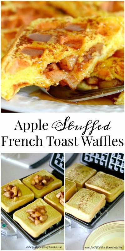 Waffle terbuat dari roti french toast dengan isian buah apel.