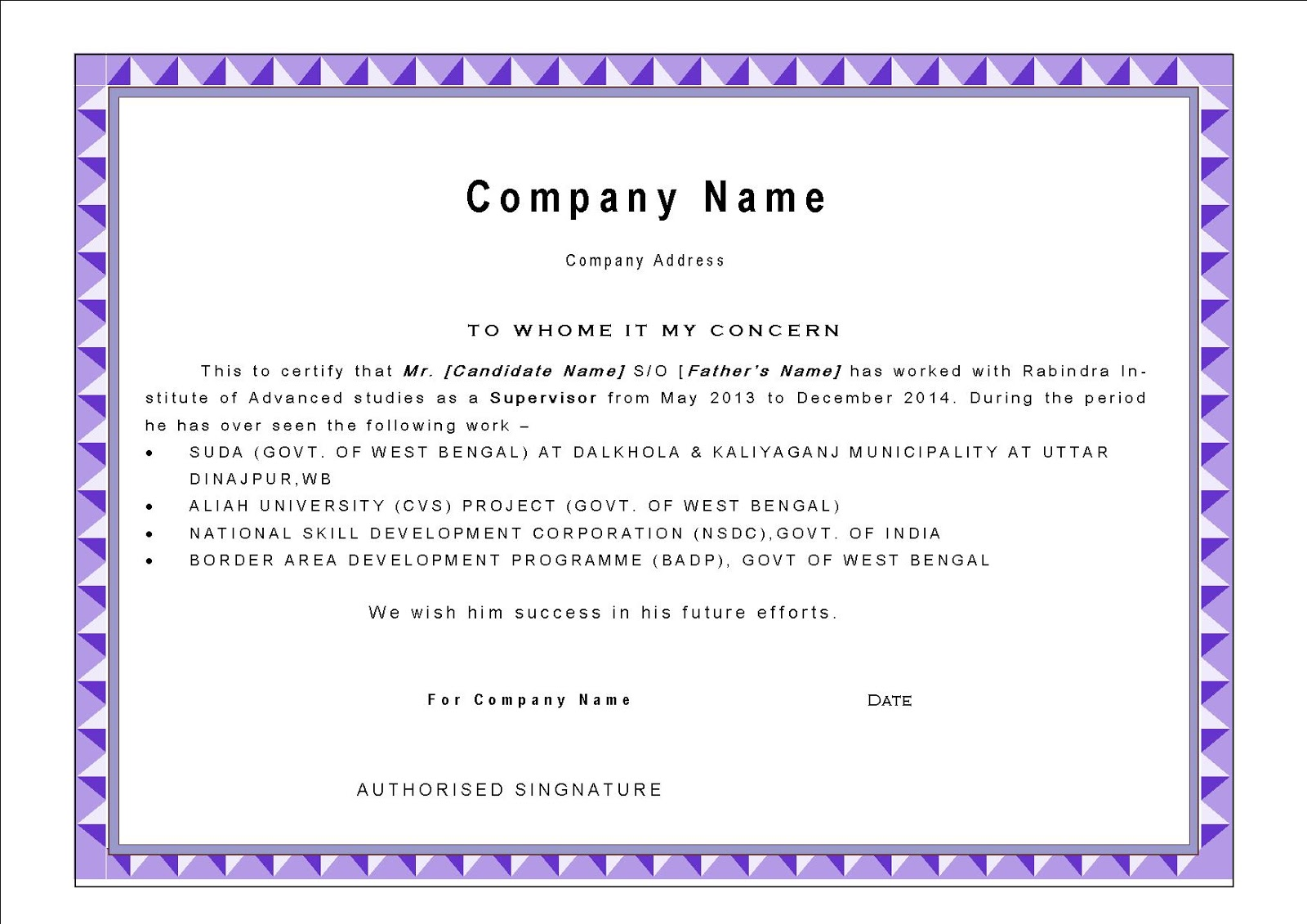 Best Experience Certificate Format Experience letter sample – Experience Certificate Formats
