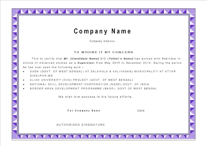 Best Experience Certificate Format, Experience letter sample