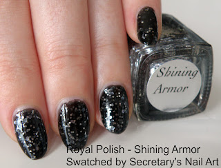 Black jelly silver glitter polish