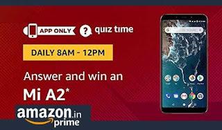 Amazon Mi A2 Quiz Time Contest Answers - Win Prizes