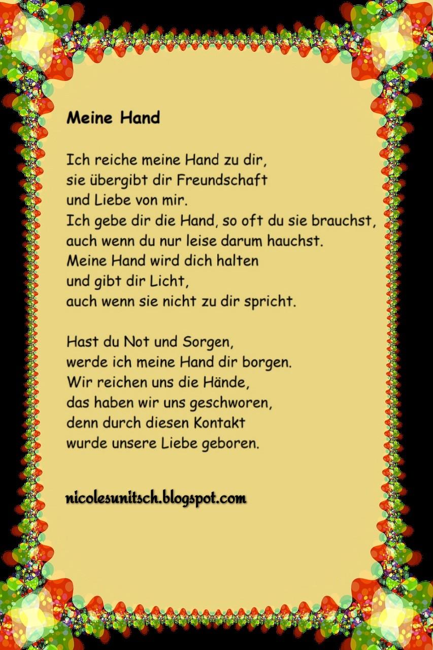 Hand leben gedicht hand durchs in Das Spruch