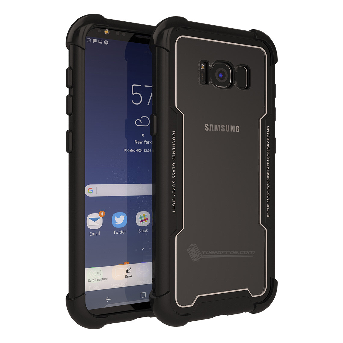 Samsung Galaxy S8 Forros Anti-Shock Edge Black BackCover Cristal Clear
