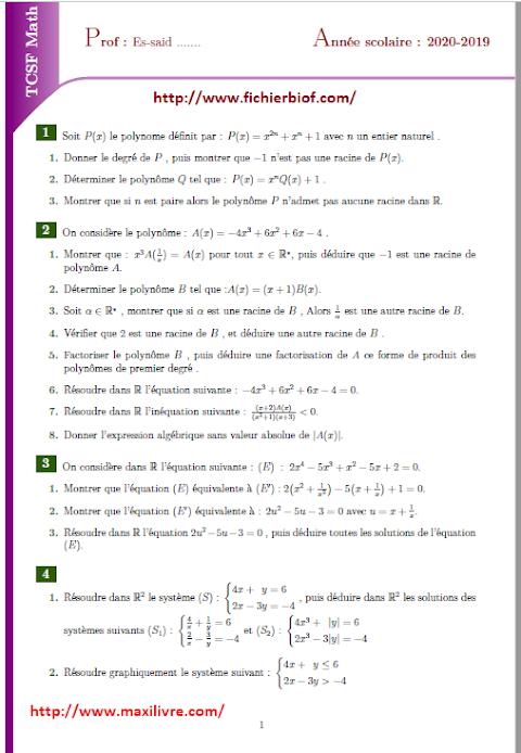 Travaux dirigés : polynômes - équations -inéquations et les systèmes +  source Latex