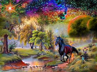 Στη φωτογραφία εικονίζεται ένα μαύρο άλογο να τρέχει μέσα σε δάσος. Ο ουρανός είναι πολύχρωμος, γεμάτος αστέρια. Ακολουθεί το κείμενο της ανάρτησης: Άφησε τα πέπλα σου, στο πάτωμα να πέσουν, αποκάλυψέ μου, τα φύλλα μιας όμορφης ψυχής. Το άρωμά σου να αισθανθώ. Εικόνα είσαι μαγική, στο αεράκι του Απρίλη, στο φως το αχνό. Στη φωτιά σου γίνομαι, θύελλα κι οργή, αισθάνομαι το άρωμά σου, κράτησέ με πιο σφιχτά, βασίλειο για μένα, η αγκαλιά σου, η δική μας μάχη, δε γνωρίζει νικητή, ούτε ηττημένο. Είσαι πλημμύρα, κύμα που μανιασμένα χτυπάει τα βράχια, κράτησέ με πιο σφιχτά, στα πελάγη σου ο ναυαγός, θάλασσα για μένα η αγκαλιά σου, η δική μας μάχη... δεν έχει νικητή, δε γνωρίζει ήττα... στη δύναμή σου η λογική μου παραιτείται, είσαι το φως, παραμυθένιου δάσους μονοπάτι, καβαλάρισσα περήφανη, ο πήγασος να είμαι ή το χρυσό σου, αν θέλεις άτι... Στο ταξίδι μας, είπες πως μπορείς, να με κάνεις βασιλιά, έχεις τη δύναμη, να με εξοργίζεις ή να με ηρεμείς. Αν σε κρατήσω, η φίλη μου θα είσαι η παντοτινή, το κορμί σου, για μένα θα ευωδιάζει, μα να το δω ως προσκυνητής, που ψελλίζει γλυκιά προσευχή... Για να γίνω επιβάτης, πρέπει να αγκαλιάσω τις βροχές, την άνοιξη να βλέπω, σε όλες τις εποχές... Τρυφερά με κράτησες απ' το χέρι, δίχως να μιλάς, και λίγο πριν το τέλος, εκεί που εκρήγνυνται τα άστρα, η θάλασσα φουσκώνει σε ολόγιομο φεγγάρι, ...το μέλλον συναντιέται με το παρόν, και τα όνειρα χορεύουν με τις αλήθειες... ξεχασμένες σκιές σε παράλογο θεατρικό, στο φόρεμά σου, ξύπνησα τις μνήμες, στο σώμα σου, γεύτηκα το νάμα, των φιλιών σου ένιωσα τη φωτιά, στις επάλξεις σου, κρατήθηκα γερά... Στις εκρήξεις μας, σημάδι βάλαμε τον εαυτό μας, τα όνειρα χόρεψαν με τις αλήθειες, οι σκιές δεν ξεχάστηκαν, άστρα γίναμε κι εμείς, σε κατακόκκινο ουρανό, με πλημμύρισαν οι μυρωδιές, μιας ανοιξιάτικης αυγής... Ετικέτες: ποιήματα: Αλέξανδρος Β.  Τοποθεσία: Κόρινθος, Ελλάδα.  Στιχοποιήματα και κείμενα (blogspot)