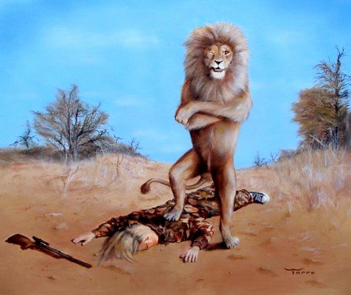 Funny Safari Lion Trophy Kill Joke Picture