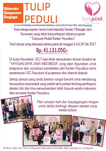 Tulip Peduli Love Pink Desember 2017
