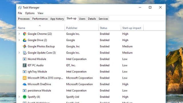 Daftar aplikasi startup di windows 10