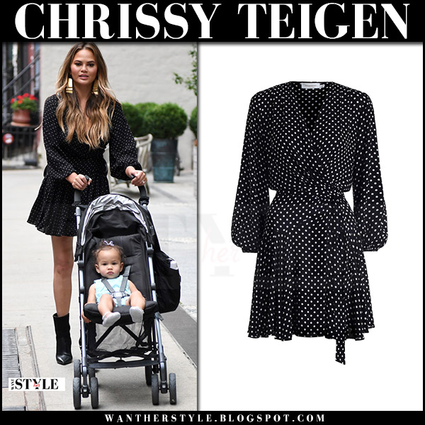 Chrissy Teigen in black dot print wrap mini dress zimmermann stranded what she wore off duty style july 2017