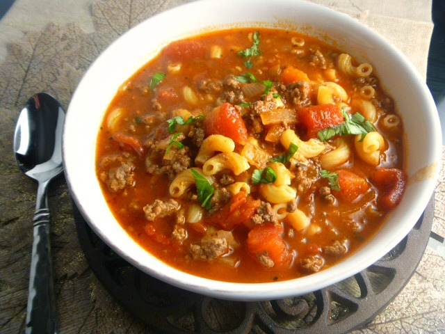 Spicy Beef and Macaroni Tomato Soup:  Nothing beats a pot of steaming soup on a cold winter night. - Slice of Southern