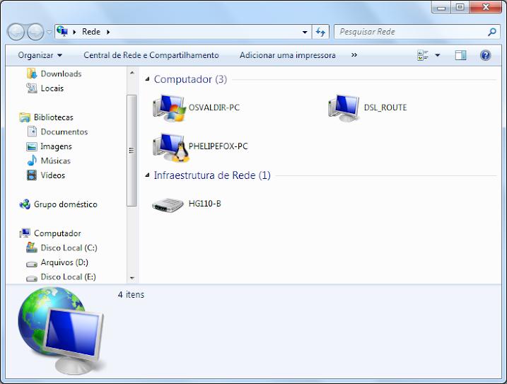 Explorador de arquivos do Windows - O local de rede está aberto e são exibidos 3 itens na categoria Computador (OSVALDIR-PC, DSL_ROUTE e PHELIPEFOX-PC) e 1 item na categoria Estrutura de Rede (HG110-B).