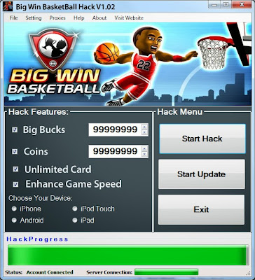 Download Free Big Win Basket Ball Game (All Versions) Hack Unlimited Big Bucks,Coins,Card,Speed 100% working and Tested for IOS and Android  MOD, Trainer