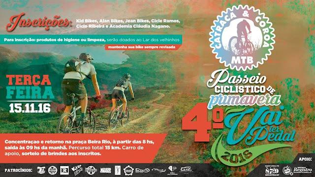 Feriado de 15 de novembro terá Passeio Ciclístico Vai Ter Pedal em Registro-SP