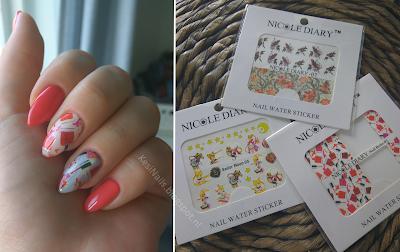 [Moje paznokcie, recenzja, tutorial] Naklejki wodne z Nicole Diary + mini poradnik jak zamocować je na hybrydach :)