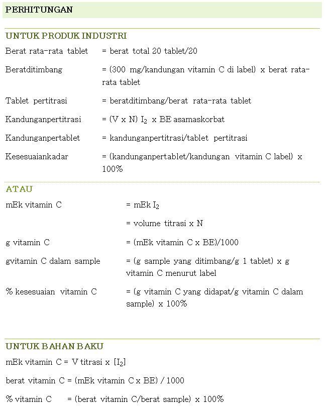 Penentuan Kadar Vitamin C (Asam Askorbat) Metode Iodometri