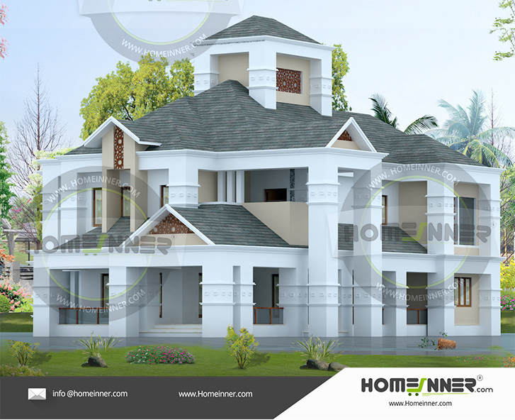 Colonial type home house plan 5BHK 5 Bath 30 Cents land