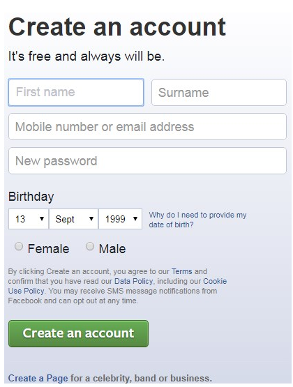 Facebook Full Site Login Page