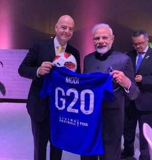 FIFA President Gifted Football Jersey to Modi