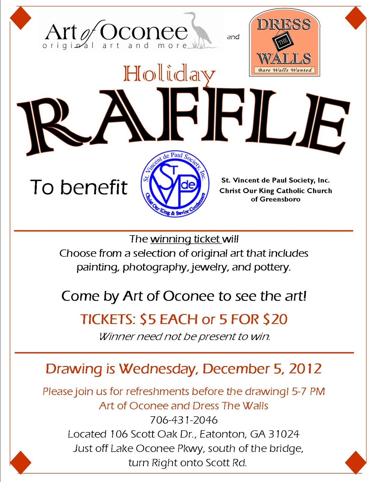 Art of oconee our second annual holiday raffle for Christmas raffle poster templates