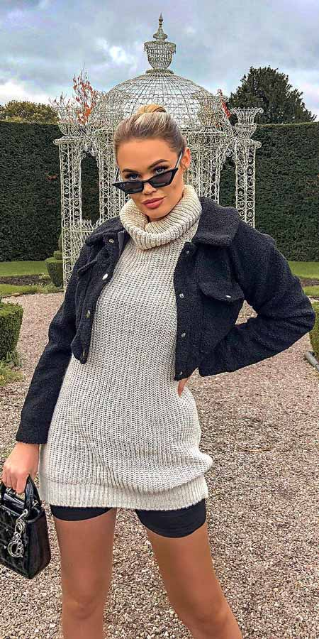 Roll neck jumper dress | From knited jumpers to oversized jumper. Discover these 31 Cute womens jumpers that will totally embrace you. Jumper Outfits via higiggle.com #jumper #winterwear #style #cute