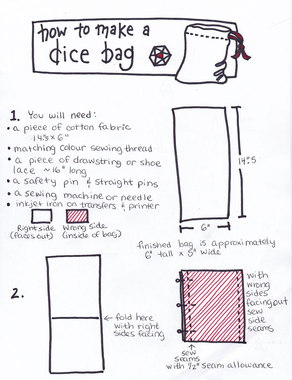 graphic relating to Dice Bag Printable Pattern called knit fish: Sew Geeky - how towards create a cube bag