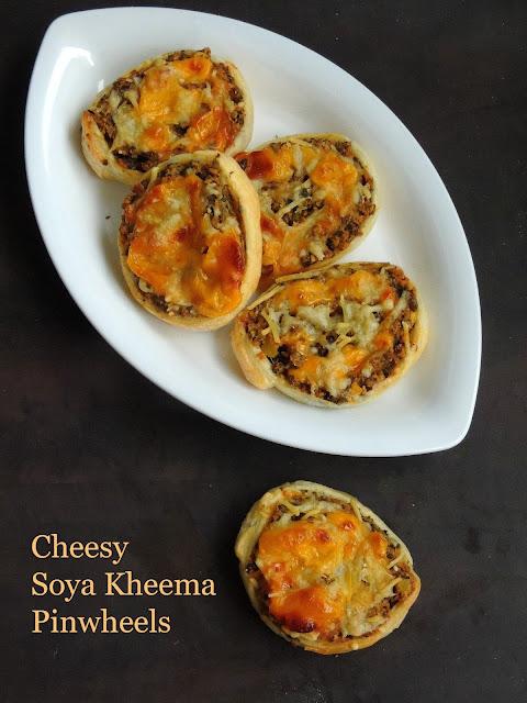 Soya Kheema Cheese Pinwheels, Minced Soya Masala Puff Pinwheels.jpg