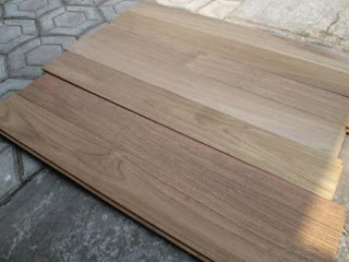 Contoh flooring jati unfinished