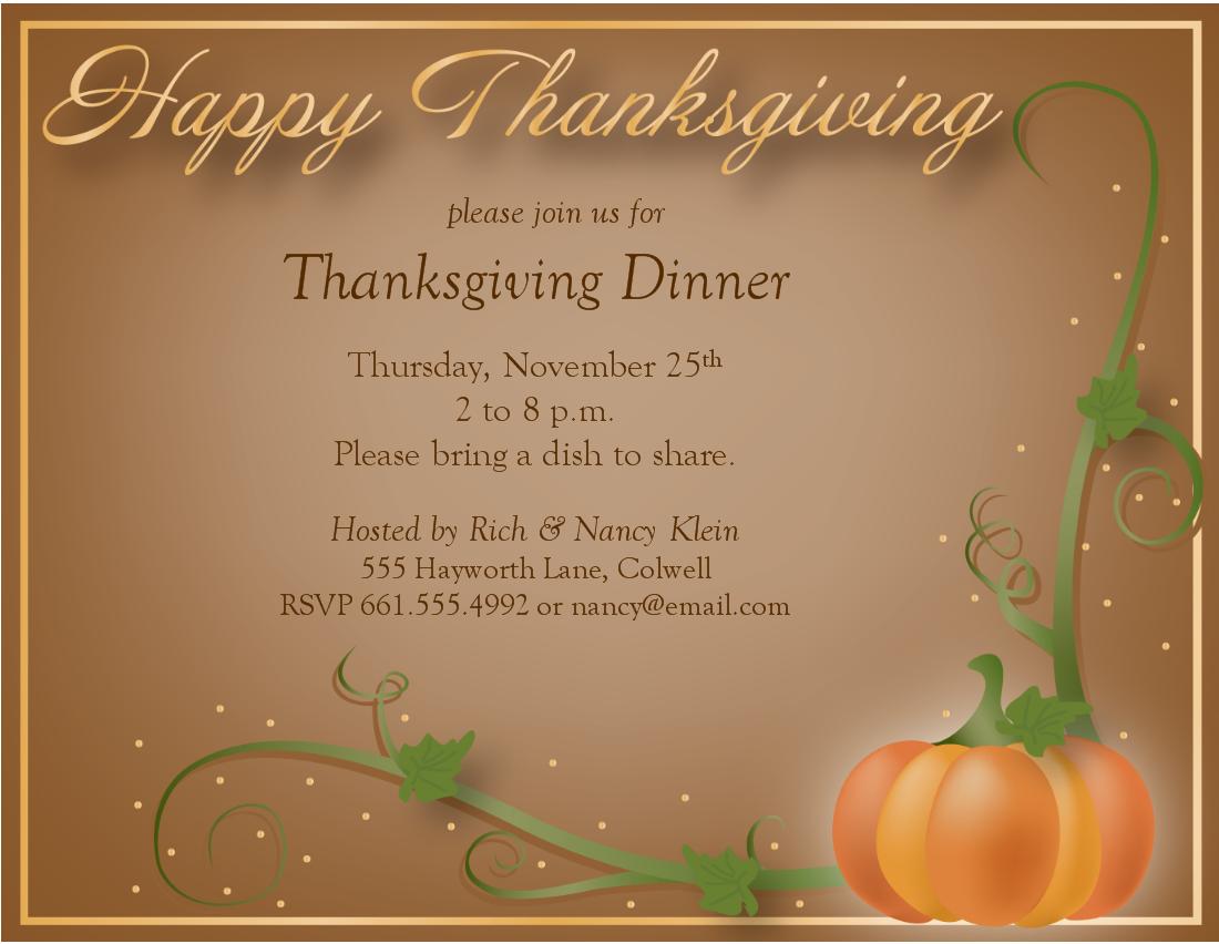 image regarding Printable Thanksgiving Invitations identified as Printable Thanksgiving Invites Templates