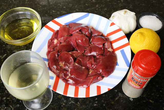 Ingredientes para higaditos de pollo al ajillo