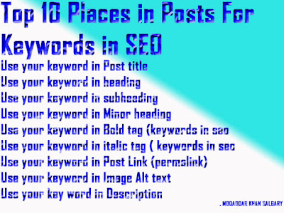 Top 10 Places in Posts For Keywords in SEO