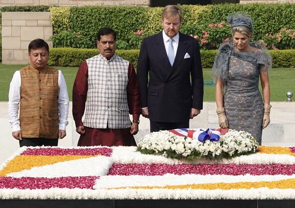 Queen Maxima wore Natan lace dress. President Ram Nath Kovind and First Lady Savita Kovind. Prime Minister Narendra Modi