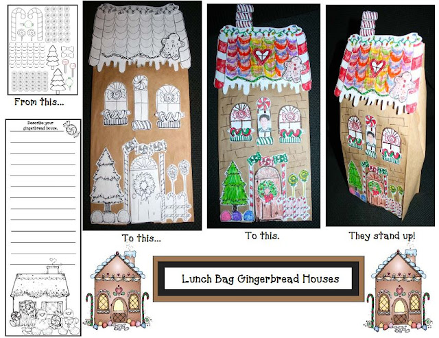 Christmas Time Lunch Bag Gingerbread Houses for Elementary School Students by Teach With Me