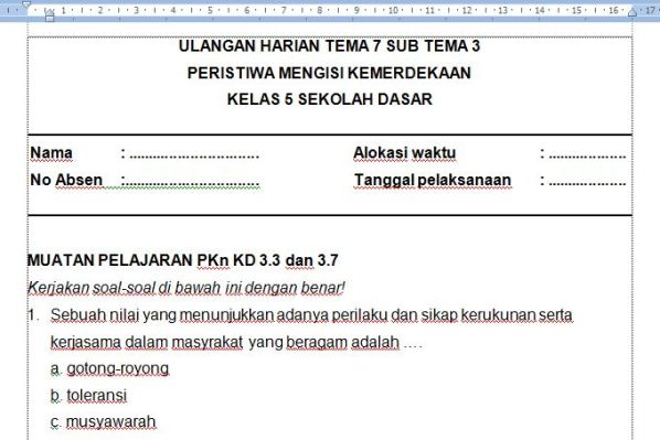 Soal Ulangan Harian K13 Kelas 5 Tema 7 Subtema 3