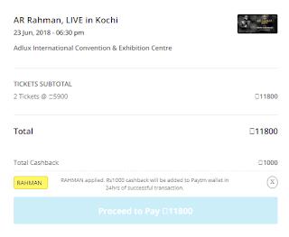 Paytm AR Rahman Live Show Tickets