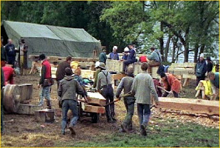 Trebuchet builders gather at Castle Urquhart, located on the shores of Loch Ness in the Scottish Highlands