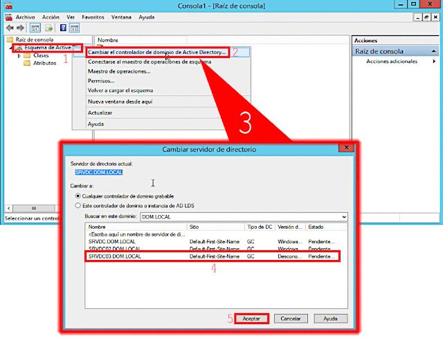 En la parte superior del árbol de la consola, seleccionaremos Esquema de Active Directory y haciendo uso del botón secundario del ratón seleccionaremos Cambiar el controlador de dominio.