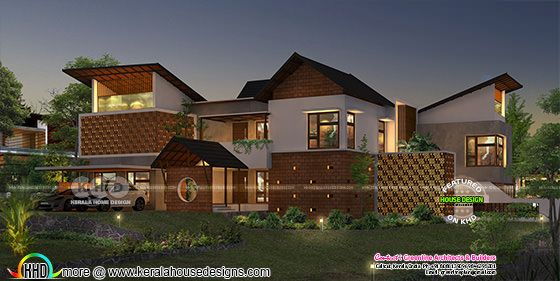 5 bedroom slanting roof style 3 rendering