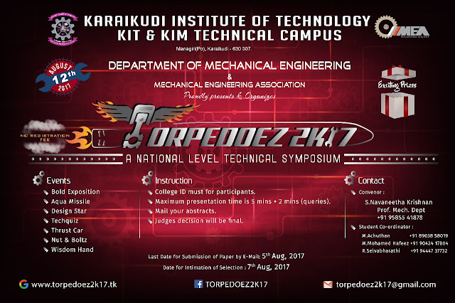 TORPEDOEZ 2K17: A National Level Technical Symposium at KIT & KIM, Karaikudi