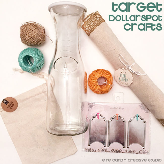 target dollar spot crafts, table runner, twine, linen bag, metal tags, carafe