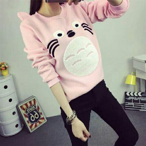 Jual Baju Lengan Panjang Sweater Catty Pink - 12918